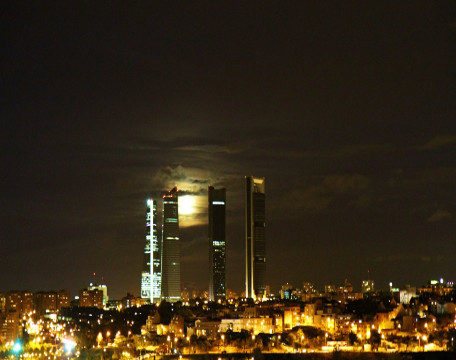 Las Torres La Castellana Madrid Espa Night Spain Skyline Background Images