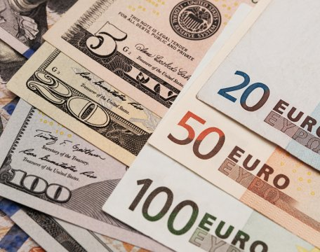 Photo of the american and euro banknotes