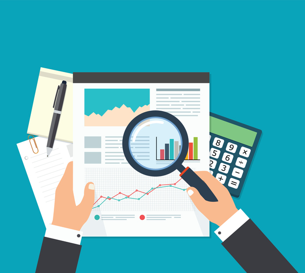 Business Analyst, Financial Data Analysis. Businessman With Magnifying  Glass Is Looking Financial Reports.