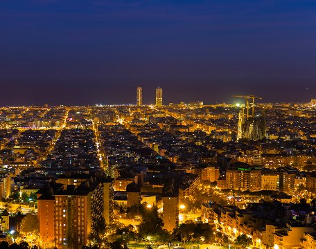 Barcelona skyline by night during Christmas period